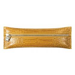 Trousse plate zippée Veau Croco Savannah